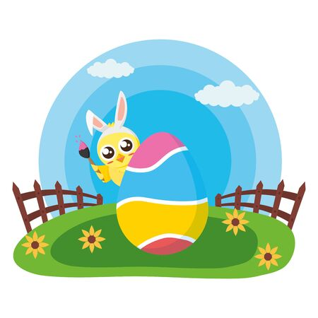 happy easter chick egg painted in the meadow vector illustration Standard-Bild - 129176294