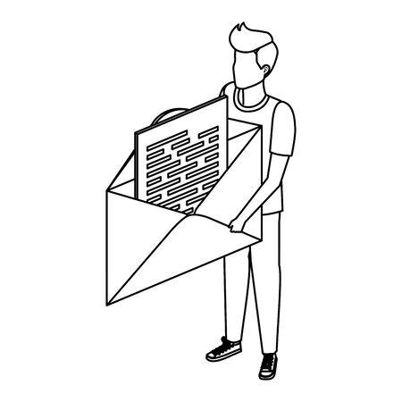 young man lifting envelope mail send vector illustration design Foto de archivo - 129176319