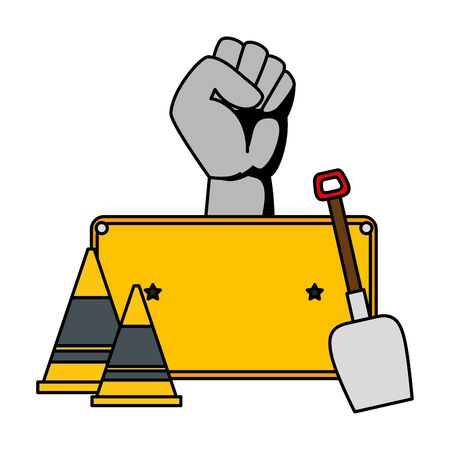 hand human fist with cones and shovel vector illustration design Reklamní fotografie - 129176312