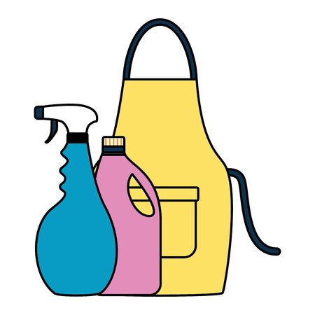 apron spray and detergent spring cleaning tools vector illustration 版權商用圖片 - 129187793
