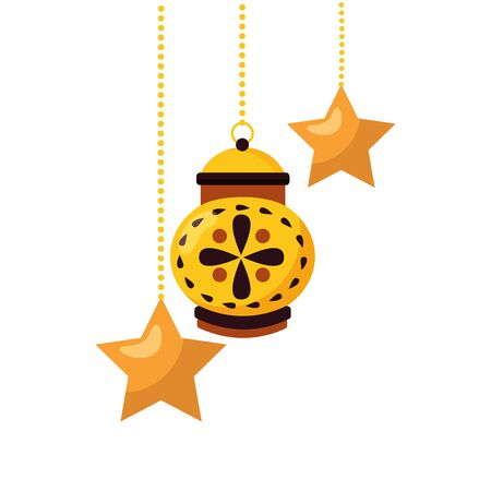 hanging lantern decoration on white background vector illustration