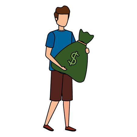 young man lifting money bag vector illustration design Stock Illustratie