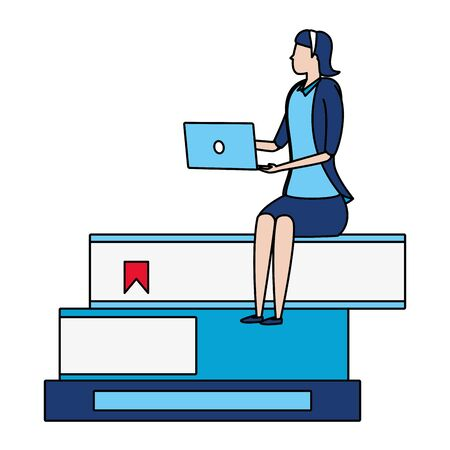 businesswoman sitting books with laptop business success vector illustration  イラスト・ベクター素材