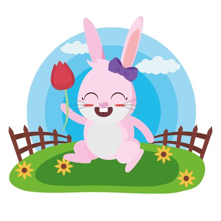 cute rabbit with flower in the meadow vector illustration