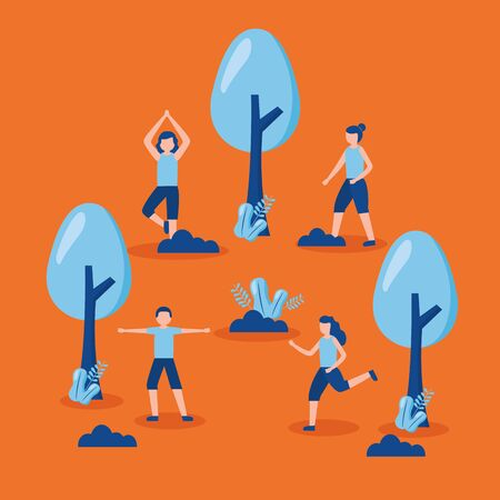 people practicing exercise world health day vector illustration Illusztráció