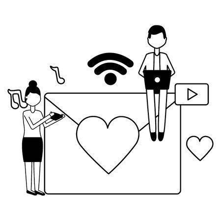 man woman laptop message chatting social media vector illustration  イラスト・ベクター素材