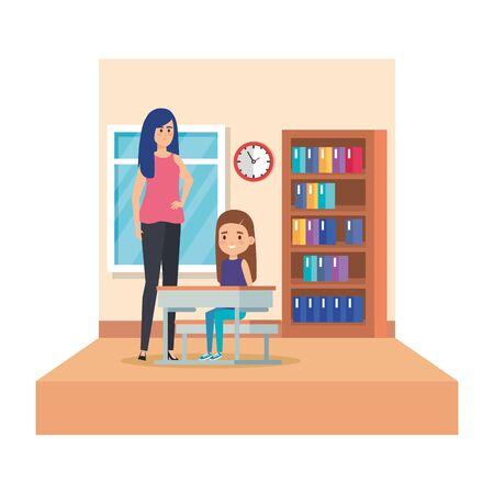 female teacher and girl seated in desk in classroom vector illustration design 일러스트