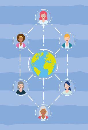 diversity women people world connection vector illustration design Ilustracja