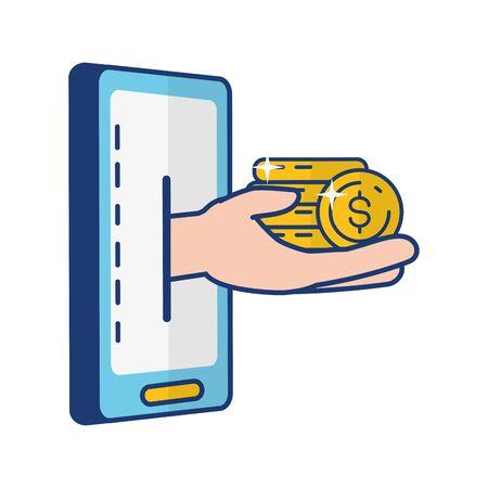 hand mobile coins stacked online banking vector illustration Foto de archivo - 129187622