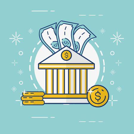 bank money coins banknote online payment vector illustration Foto de archivo - 129187715