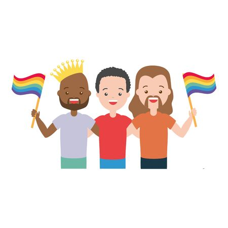 group men with flag lgbt pride vector illustration