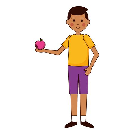 school boy with apple teachers day card vector illustration