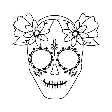catrina skull flower character vector illustration design Standard-Bild - 129232813