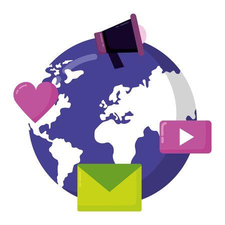 world email love message loudspeaker social media vector illustration