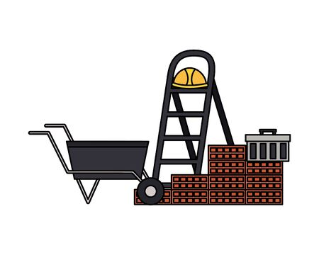 wheelbarrow stairs wall brick helmet box construction equipment vector illustration Standard-Bild - 129232977