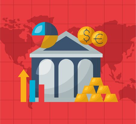 banking chart gold bars money financial stock market vector illustration