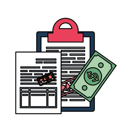 clipboard with taxes and money vector illustration design Çizim