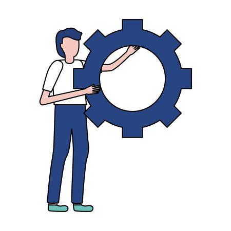 businessman holding gear work vector illustration design Ilustracja