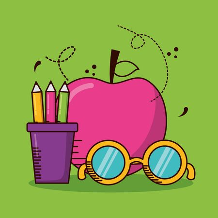 apple pencils eyeglasses school teachers day vector illustration design Ilustração