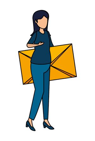 young woman lifting envelope mail vector illustration design Foto de archivo - 129233702