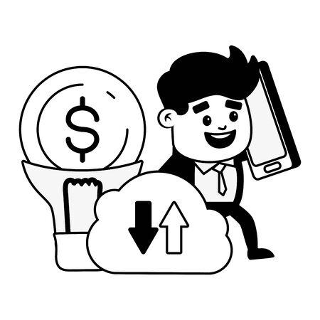 businessman mobile cloud computing creativity online banking vector illustration Ilustracja