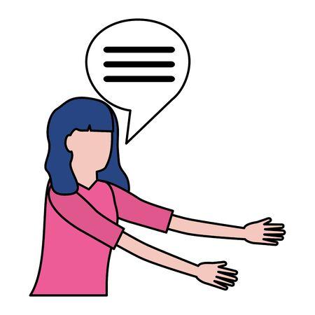 woman portrait speech bubble dialogue vector illustration