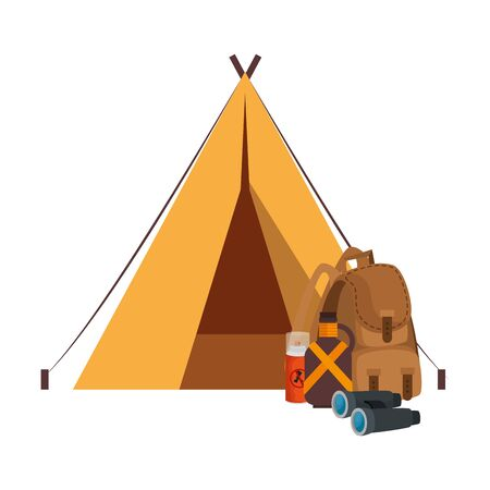 tent camping with travelbag and accessories vector illustration design Stockfoto - 129233837