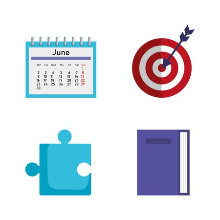 set of office calendar with target and puzzle with book to business strategy vector illustration Ilustracja