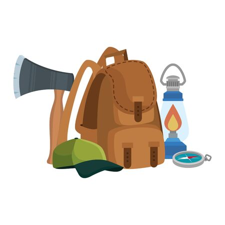 camping travel bag with ax and equipment vector illustration design