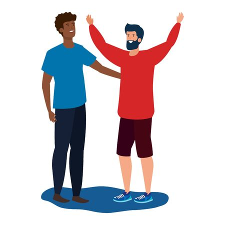 interracial young men friends celebrating characters vector illustration design