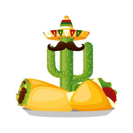 mexican cactus taco burrito cinco de mayo vector illustration 向量圖像