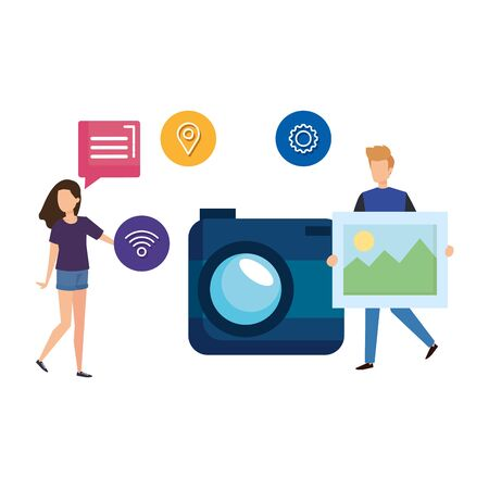 young couple with camera and social media icons vector illustration design