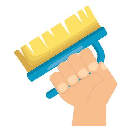 hand holding brush spring cleaning tool vector illustration Çizim