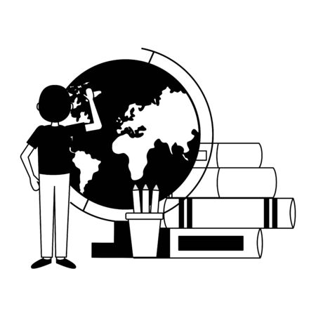 man school globe books teachers day card vector illustration