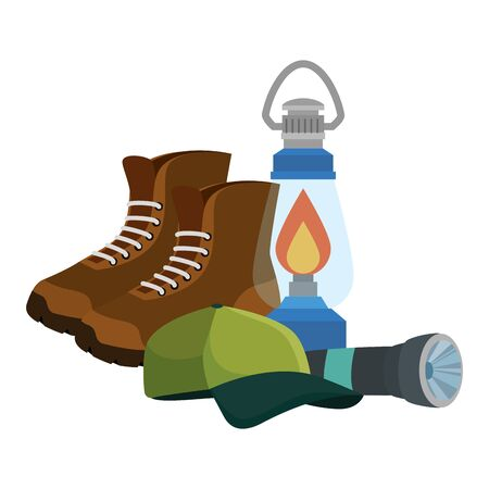kerosene lantern with boots and cap vector illustration design Foto de archivo - 129235147