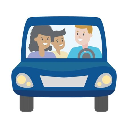 family parents and kid in the car vector illustration design Stockfoto - 129235199