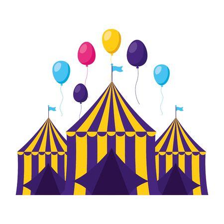carnival tent balloons festive vector illustration design