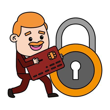 businessman bank card security online payment vector illustration