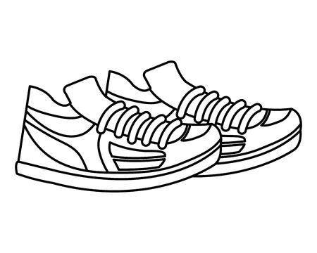 tennis sport shoes footwear accessory vector illustration design Çizim