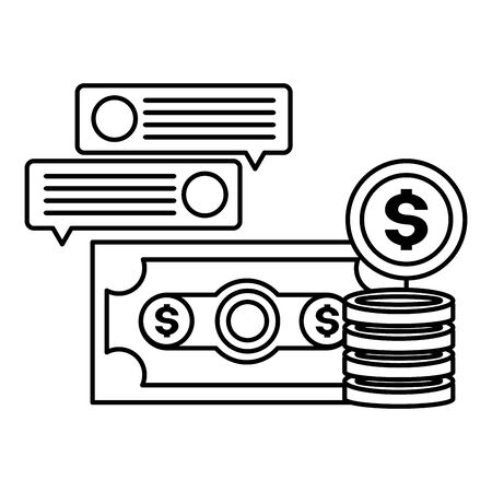 banknote coins money message tax time payment vector illustration
