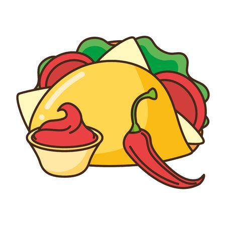 taco chili pepper sauce fast food vector illustration