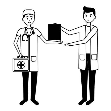 medical men team characters professional vector illustration
