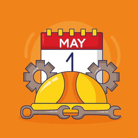 hardhat calendar gears wrenchs labour day vector illustration