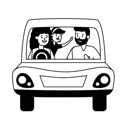family dad mom and daughter in the car vector illustration design Stock Illustratie