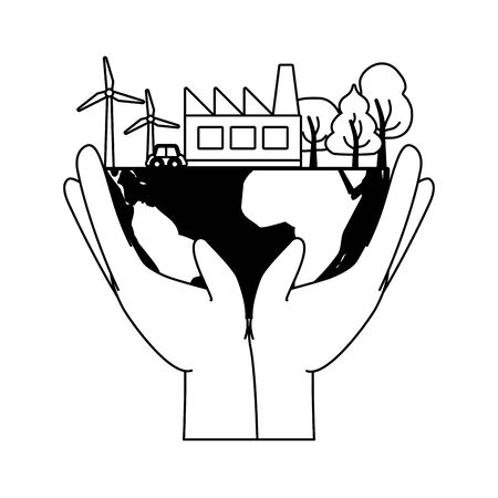 hands holding planet environment ecology earth day vector illustration  イラスト・ベクター素材