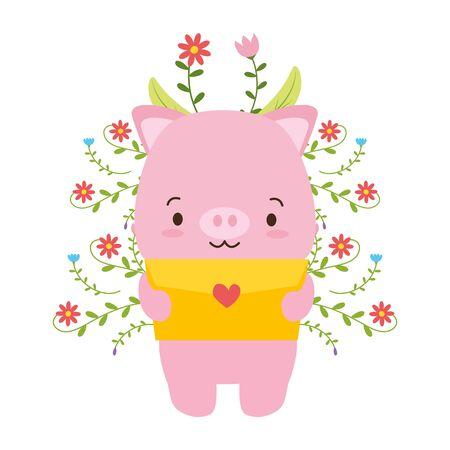 cute piggy cartoon mail love vector illustration