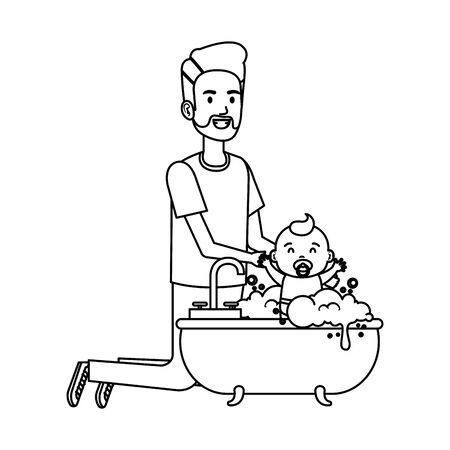 father with baby bathing in the bathtub vector illustration design