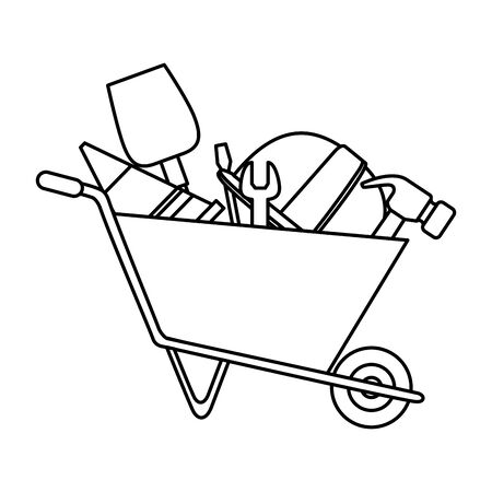 wheelbarrow construction with tools equipment vector illustration design