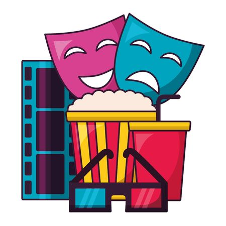 theater masks 3d glasses snacks film cinema design vector illustration