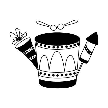 drum fireworks sticks carnival vector illustration design Çizim